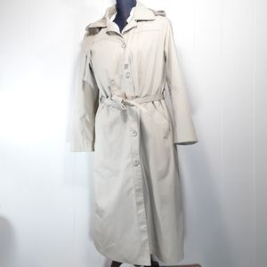 London Fog trench coat with liner, belt, and Hood